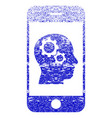 smartphone intellect gears textured icon vector image