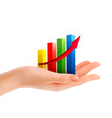 Business graph in hand vector image