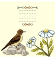 Vintage background with cartoon flowers and bird vector image