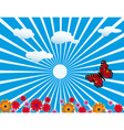 red butterfly on flowering meadow vector image vector image
