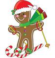 gingerbread skier vector image vector image