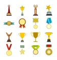 Trophy and awards flat icons set vector image vector image