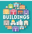 Architecture buildings circle infographics vector image