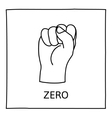 Doodle Zero or Fist icon vector image