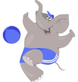 Cartoon elephant playing ball vector image