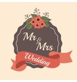 invitation weddign card ribbon and label design vector image
