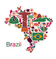 map from traditional symbols of brazil vector image