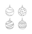 set of hand drawn christmas ball toy christmas vector image