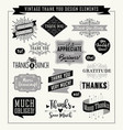 set of thank you card design elements vector image