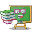 student with book chalk board character cartoon vector image