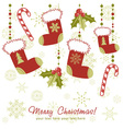 Ornate Christmas card with xmas stocking vector image vector image