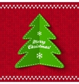 Green Christmas tree on red knitted background vector image