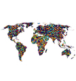 Colored network World map vector image vector image