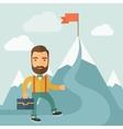 The Man Climbing the Mountain of Success vector image