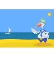 Goose diver on a beach vector image