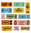 circus party and cinema vintage admission vector image