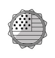 line emblem with flag of usa inside vector image