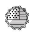 line emblem with flag of usa inside vector image