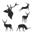 Set of black forest deer silhouettes Suitable for vector image