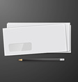 Two white envelopes with pencil vector image