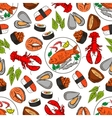 Seafood and fish seamless wallpaper background vector image vector image