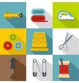 Tools for sewing dresses icons set flat style vector image