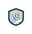 Locksmith Carry Key Shield Retro vector image