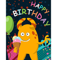 Funny yellow monster with ice cream celebrates its vector image