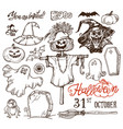 halloween night doodles vector image