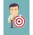 Man holding a target with arrow vector image