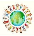 Multicultural children on planet earth vector image