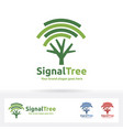 signal tree logo wi-fi and tree symbol suitable vector image