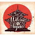 A poster on aged paper The trip to Japan An vector image
