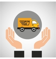 hand delivery service fast truck graphic vector image