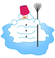 Melting snowman vector image vector image