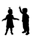 Two toddlers silhouettes vector image vector image