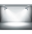 Black and white retro showroom with two lights vector image