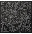 Chalkboard hand drawn Doodle cartoon set of vector image vector image