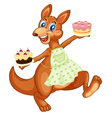 Kangaroo with cakes vector image vector image