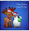 Deer cuddling with snowman on a blue background vector image