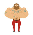 hipster beard and tattoos mustachioed brutal man vector image