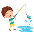 of a kid fishing vector image