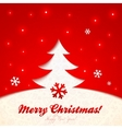 Red cutout paper christmas tree greeting card vector image