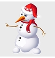 Snowman with carrot in red cap and scarf vector image