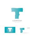 T blue letter alphabet logo icon design vector image