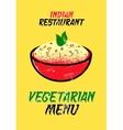 Vegetarian menu card for Indian restaurant vector image