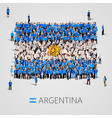 large group of people in the argentina flag shape vector image