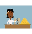 Happy businesswoman count money with abacus vector image vector image