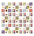 flat icons collection with shadow food vector image