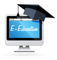 Distance learning - computer and mortarboard vector image vector image